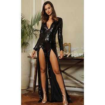 Lock It Down Black Sequin Long Sleeve Plunge V Neck Double Slit Jumpsuit