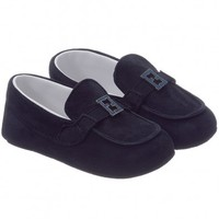 Navy Blue Suede Leather Moccasins