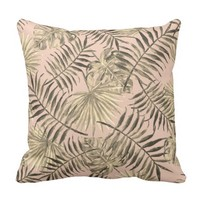 Palm leaf tropical pillow