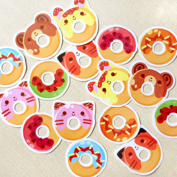 Sweet Delicious Animal Shaped Donut Stickers Pack of 16- Kawaii Cute Doughnut Dessert Sticker Flakes: Label Tags, Cards, Party Flavors, Gift