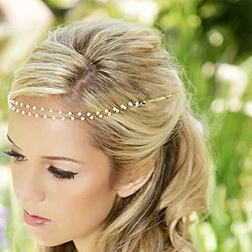 Kins Trendy Pearl Gold Plated For Beaded Headpiece