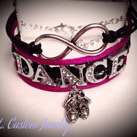 4 Strand - Infinity w/ DANCE  Rhinestone & Dance Shoes Charm on Cord- Customize w/ a different Dance Charm Choose from the Picture of Charms