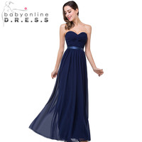 Real Photo Sexy Sweetheart Chiffon Long Navy Blue Bridesmaid Dresses 2016 Prom Dress for Weddings Under $50