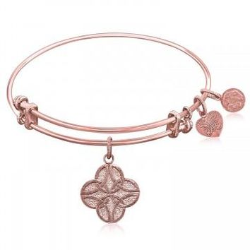 Expandable Bangle in Pink Tone Brass with Celtic Four Knot Good Fortune Symbol
