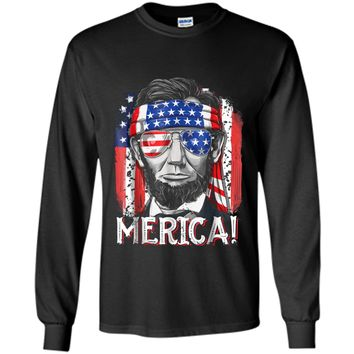 4th of July  for Men Merica Abe Lincoln Boys Kids Gift LS Ultra Cotton Tshirt