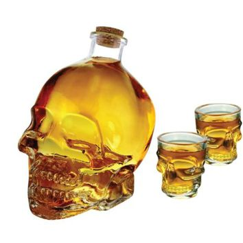 Cucina Vita Skull Face Decanter and Shot Set 3 Piece Set Glass Holds 33 Ounces