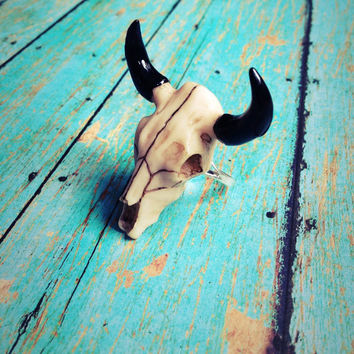 Bison Skull Ring Buffalo Longhorn Western Jewelry Wild West Cowgirl Outlaw Taurus Astrology Statement Country Taxidermy Texas Oddity