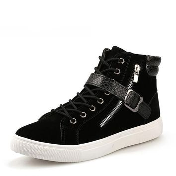 Patchwork punk rock chain  sneakers