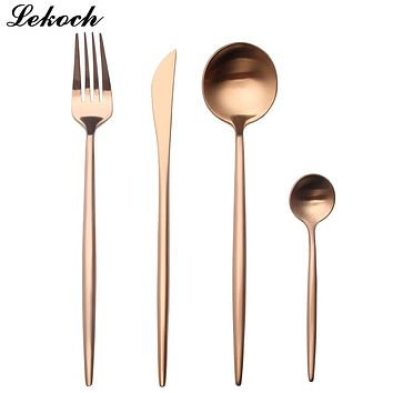 Lekoch Rose Gold Dinner Set Wedding Golden Travel Cutlery Set Stainless Steel Dinner Knife Fork Scoops Silverware Set Gifts