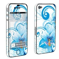 Apple iPhone 4 or 4s Full Body Decal Vinyl Skin - Blue Flower White By SkinGuardz:Amazon:Cell Phones & Accessories
