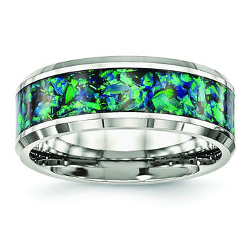 Stainless Steel Polished with Blue Imitiation Opal 8mm Men's Ring
