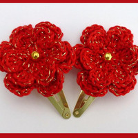 2 Crochet flower hair clips perfect stocking stuffer