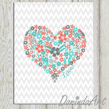 Heart Print 5x7 8x10 Printable Floral Heart INSTANT DOWNLOAD Nursery Wall  Decor Coral