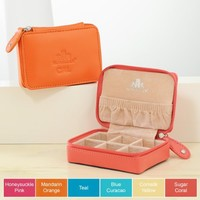 Cathy's Concepts Leather Mini Zip-Around Jewelry Case, Sugar Coral