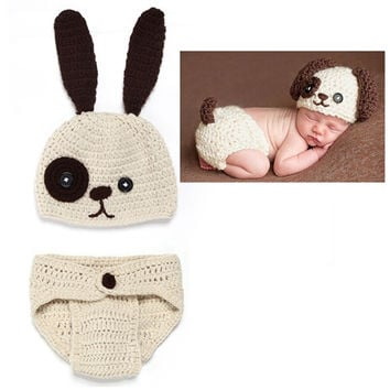Crochet Puppy Set for Newborn Infant Photography Prop