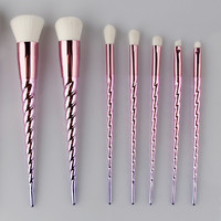 Unicorn Thread Makeup Brushes Set rainbow hair Cosmetic Foundation Eyshadow Blusher Powder Blending Brush beauty tools kits