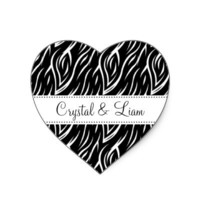Black and White Zebra Flame Print Sticker You Personalize