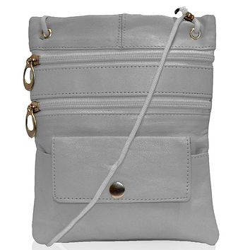 Genuine Leather Multi-Pocket Crossbody Purse Bag - Grey