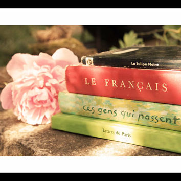SALE and FREE US Shipping French Books and Peony Photo - Pink, Green, Red - Vintage Books - 8 x 12 -  Fine Art Photo