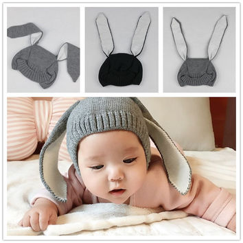 2016 Newborn Baby Caps Photography Props Cute Rabbit Ears Hats Costume Crochet Knitting Winter Hat Infant Girls Boys Outfits HOT