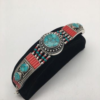 Vintage Nepalese Red Coral & Green turquoise Inlay Statement Bib Bracelet, NPB42