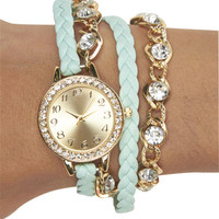 Rhinestone Chain-Link Wrap Watch | Wet Seal