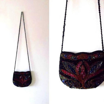 Glass beaded shimmery bag / colourful / iridescent / peacock blue / red / jet black / gold / vintage / evening purse / zip shoulder bag
