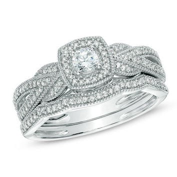 1/3 CT. T.W. Diamond Braid Vintage-Style Frame Bridal Set in 10K White Gold - View All Rings - Zales