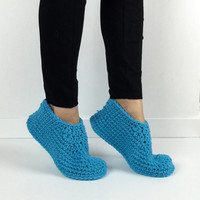 Women's Crochet Turquoise Slippers, Knitted Slippers, House Shoes, Ladies Blue Slippers, Simple Crochet Booties, Plain Auqa Granny Slippers