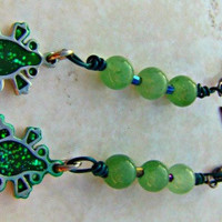 Stone Frog Earrings Beaded Earrings Direct Checkout Green Aventurine Dangle Woman