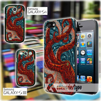 Mosaic Octopus Art for iPhone 4, iPhone 4s, iPhone 5, iPhone 5s, iPhone 5c, Samsung Galaxy S3, Sasmsung Galaxy S4 Case