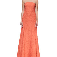 Plisse Georgette Mermaid Gown, Persimmon