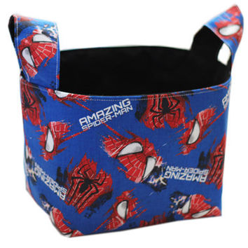 NEW Spider-Man Boy's Bedroom Storage | Blue Storage Bin | Superhero Bin | Fabric Basket | Desk Organizer | Room Storage