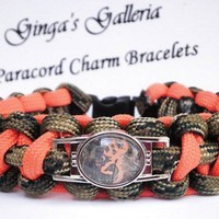 Custom Camo and Neon Orange Browning Buck 550 Paracord Cobra Bracelet