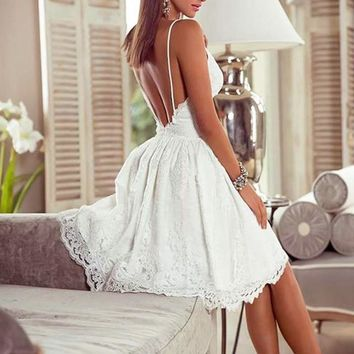 Brooklyn White Lace Detailed Dress