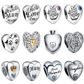 925 Sterling Silver Love Hearts Symbol European Charm Beads Fit Pandora Style Bracelet Necklace Pendant DIY Original Jewelry