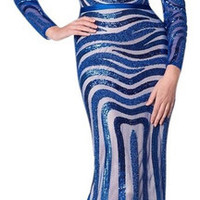 Colors 1284 Long Sleeve Sequin Pattern Prom Dress Evening Gown MOB