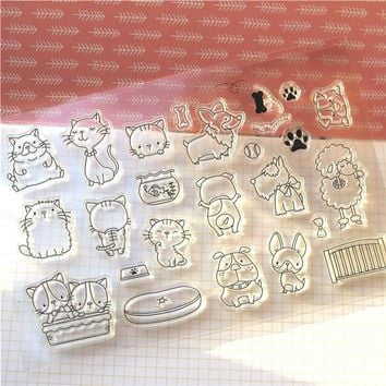 ZLDECOR Cats And Dogs Transparent Clear Silicone Stamp/Seal for DIY scrapbooking/photo album Decorative clear stamp sheets