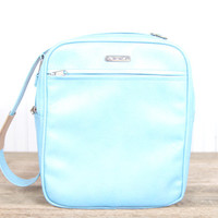 Vintage Baby Blue Samsonite Shoulder Bag / Robins Egg Blue Bag / Light Blue Purse / Luggage / Samsonite Carry On / Old Suitcase / Aqua Blue