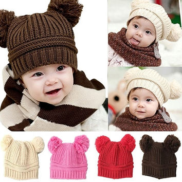 Baby Girls Boys Kids Trendy Fashion Dual Ball Knit Sweater Cap Winter Warm Hat  easy = 1958084164