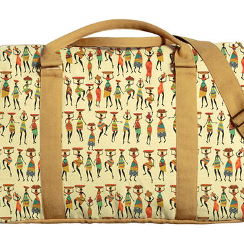 African Women Pattern Printed Oversized Canvas Duffle Luggage Travel Bag WAS_42