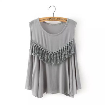 Casual Fringe Top Sleeveless Crop Top