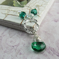 Emerald Quartz Briolette Wire Wrapped Necklace in Sterling Silver by BeadedEmbellishments