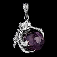 1 Pcs Silver Plated Dragon Claw Wrap Ball Beads Charm Pendant Necklaces