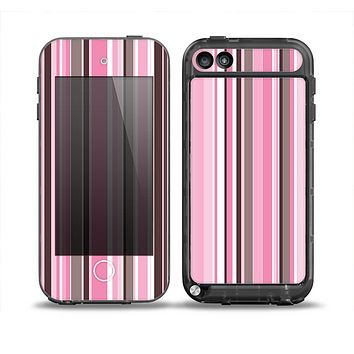 The Pink and Brown Fashion Stripes Skin for the iPod Touch 5th Generation frē LifeProof Case
