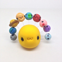 Solar System Project , Cute Little Sun and Stars, Clay Fimo - Figurine Kawaii Style Mini Mobile