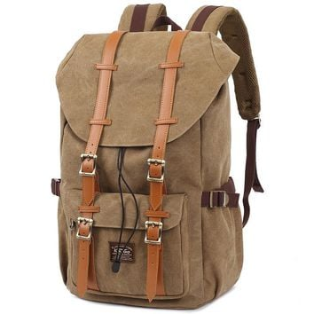High quality travel school Backpacks Canvas PU leather man Backpack 2016 famous fashion vintage designer brand KAUKKO Bags