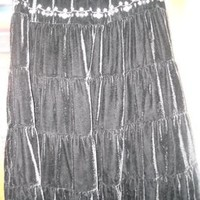 Ninety Womens Velvet Tiered Embroidered L Large Skirt