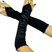 Long Black Satin One Finger / Fingerless Gloves