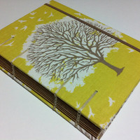 Handmade Fabric Journal Notebook - Coptic Stitched - Oak Tree and Flying Birds in Yellow
